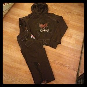 One Life*Hooded Embellished SweatSuit- Size M